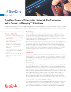 SevOne Powers Enterprise Network Performance with Fusion ioMemory™ Solutions